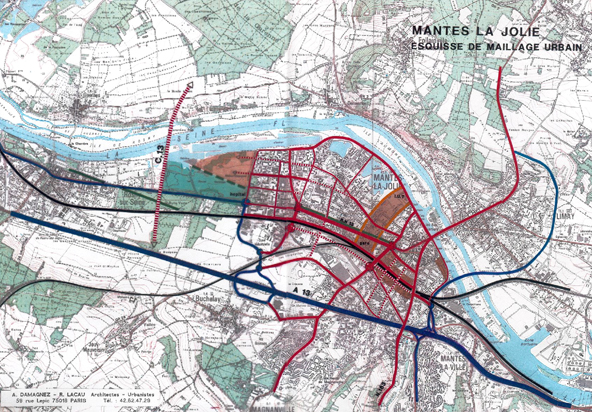 Maillage urbain à Mantes-la-Jolie